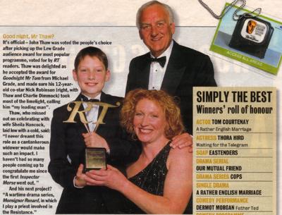 John Thaw wins the Lou Grade BAFTA Award