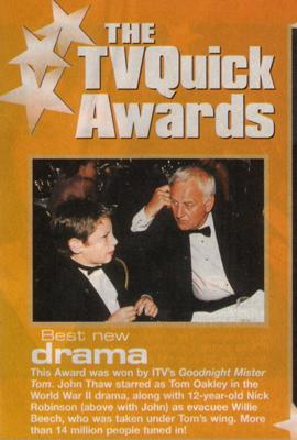 Goodnight Mister Tom wins TVQuick Best Drama Award